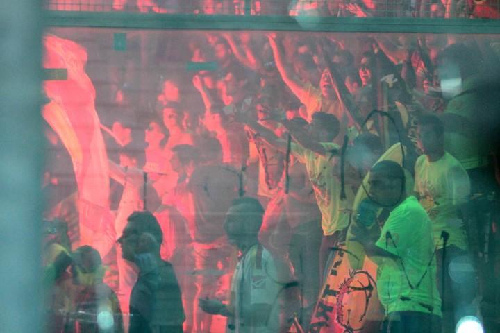 L'esultanza dopo il gol di Orlando a Reggio C.