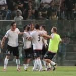La gioia dei peloritani dopo il gol