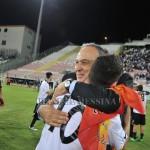 La gioia a fine partita del presidente Stracuzzi