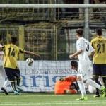 Il gol del vantaggio del Messina segnato da Pozzebon