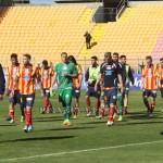 I giocatori del Lecce contestati a fine match